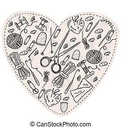 serce, pozycje, kniting, narzędzia, szycie