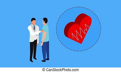 serce, profesjonalny, pacjent, doktor