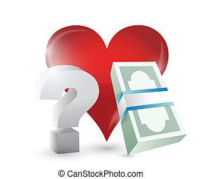 serce, projektować, pytania, ilustracja, pieniądze