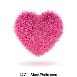 serce, puszysty, biały, odizolowany, różowy