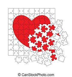 serce, puzzle.