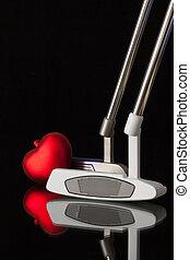 serce, różny, golf, dwa, putters, czerwony