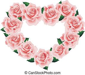serce, różowy, odizolowany, róża