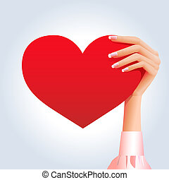serce, ręka, samica, czerwony, widać