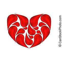 serce, robiony, abstrakcyjny, krew, ??of, krople