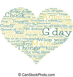 serce, robiony, format., wektor, słówko, australijski, gwara