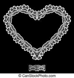 serce, robiony, koronka, karta, ułożyć, list miłosny, odizolowany, element, tło., formułować, czarnoskóry, dzień, serwetka, invitation., biały, święto, ślub