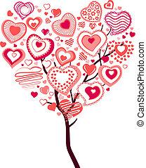 serce, robiony, wiosna, kwitnąc, drzewo, ci, cielna, mały