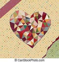 serce, robiony, z, triangle, na, kropka polki