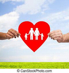 serce, rodzina, para dzierżawa ręki, czerwony