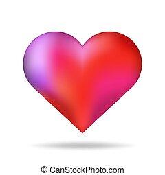 serce, romantyk, shadow., odizolowany, valentine, formułować, wektor, czerwone tło, błyszczący, dzień, element., 3d