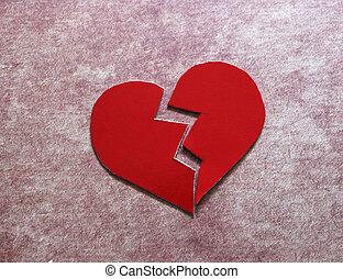 serce, rozwód, /, złamany, złamanie serca, albo, czerwony