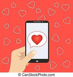 serce, ruchomy, ręka, telefon, dzierżawa, ikona