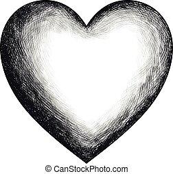 serce, rys, wektor, ręka, pociągnięty