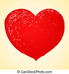 serce, rysunek, czerwony