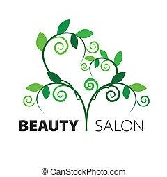 serce, salon, piękno, liście, drzewo, zielony, logo