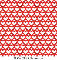 serce, seamless, czerwony, próbka