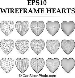 serce, set., wireframe