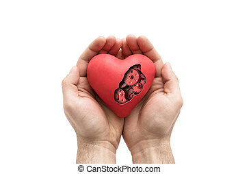 serce, siła robocza, odizolowany, mechaniczny, biały czerwony