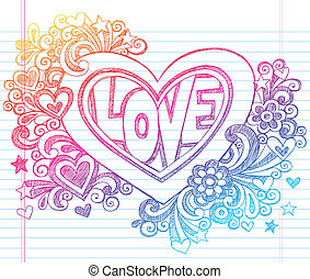 serce, sketchy, wektor, miłość, doodles