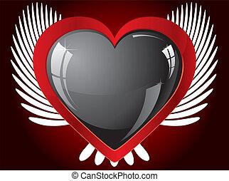 serce, skrzydlaty, ilustracja, wektor, czarnoskóry, blask