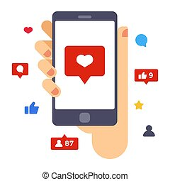 serce, smartphone, płaski, screen., ilustracja, ręka, wektor, projektować, utrzymywać, twórczy, smartphone.