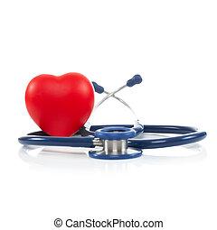 serce, stosunek, -, 1, stetoskop czerwony