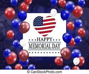 serce, styl, święto, usa, świąteczny, krajowy, postcard., amerykanka, ilustracja, day., bandera, pamięć, balloons., honor, szczęśliwy