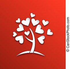 serce, styl, pojęcie, drzewo, liście, papier, cięty