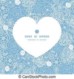 serce, sylwetka, koronka, purpurowy, próbka, ułożyć, wektor, kwiaty