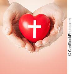 serce, symbol, do góry, krzyż, dzierżawa wręcza, zamknięcie