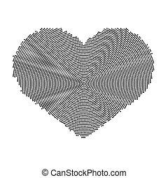 serce, symbol, pattern., odizolowany, wektor, tło, biała kropka, ikona