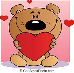 serce, szczęśliwy, dzierżawa, niedźwiedź, teddy