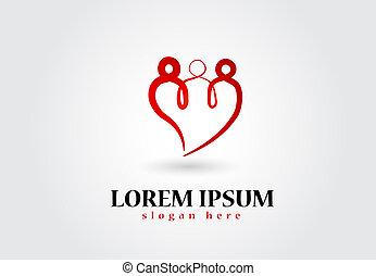 serce, sztuka, rodzina, wektor, logo, kreska, ikona