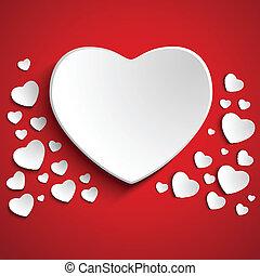serce, tło, czerwony, dzień, valentine