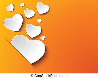 serce, tło, dzień, żółty, valentine