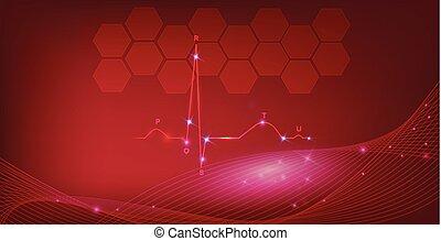 serce, tło, normalny, abstrakcyjny, kardiogram, rytm