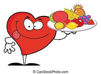 serce, transport, owoc, czerwony