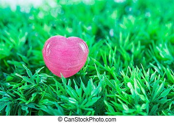 serce, trawa, miłość, zielony czerwony
