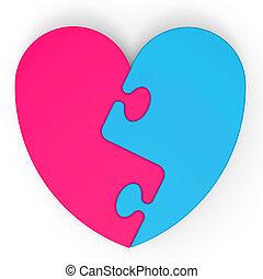 serce, two-colored, zagadka, małżeństwo, propozycja, widać