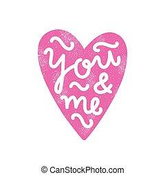 serce, ty, me., sylwetka, lettering.