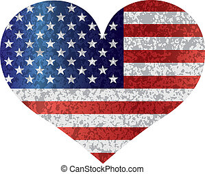 serce, usa bandera, 4, textured, lipiec