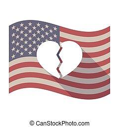serce, usa, długi, złamany, bandera, cień