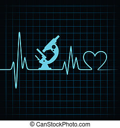 serce, ustalać, uderzenie sera, mikroskop, &