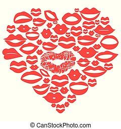 serce, usteczka, komplet, wektor, czerwony