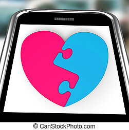 serce, uzupełnienie, smartphone, pokaz, two-pieced