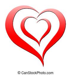 serce, valentine, abstrakcyjny, tło, dzień, widać