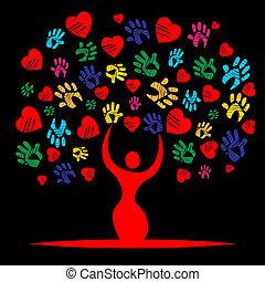 serce, valentine, barwny, dzień, przywiązanie, widać