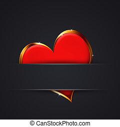serce, valentine, dar karta, czerwony