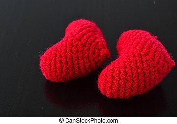 serce, valentine, dwa, czerwony, szydełkować